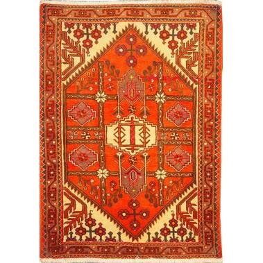 "Authentic Persian Rug saveh Traditional Style Hand-Knotted Indoor Area Rug with Natural Wool and Cotton  5'1""  X  3'7"" ABCR02555"