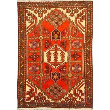 "Authentic Persian Rug saveh Traditional Style Hand-Knotted Indoor Area Rug with Natural Wool and Cotton  4'11""  X  3'5"" ABCR02575"