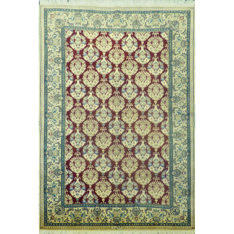 "Authentic Persian Rug nain Traditional Style Hand-Knotted Indoor Area Rug with Natural Wool and Cotton  6'4""  X  4'3"" ABCR02412"