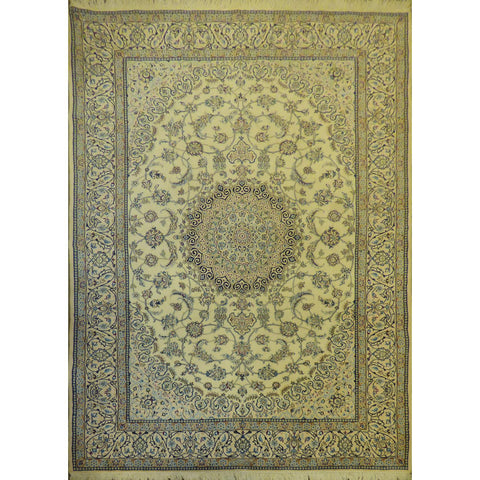 "Authentic Persian Rug nain Traditional Style Hand-Knotted Indoor Area Rug with Natural Wool and Cotton  10'5""  X  6'8"" ABCR02421"