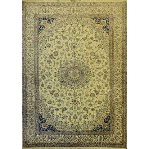 "Authentic Persian Rug nain Traditional Style Hand-Knotted Indoor Area Rug with Natural Wool and Cotton  10'3""  X  6'8"" ABCR02423"