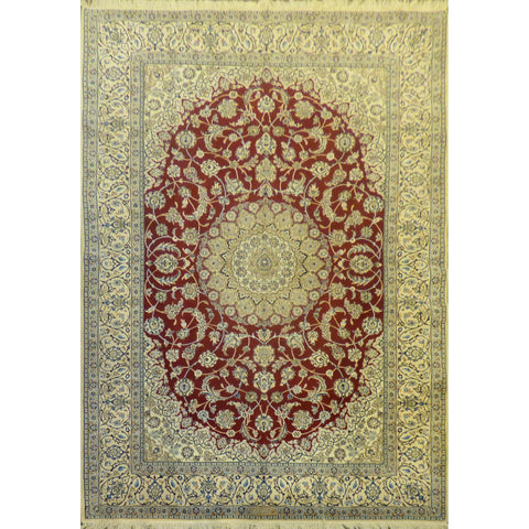 "Authentic Persian Rug nain Traditional Style Hand-Knotted Indoor Area Rug with Natural Wool and Cotton  10'6""  X  6'8"" ABCR02427"
