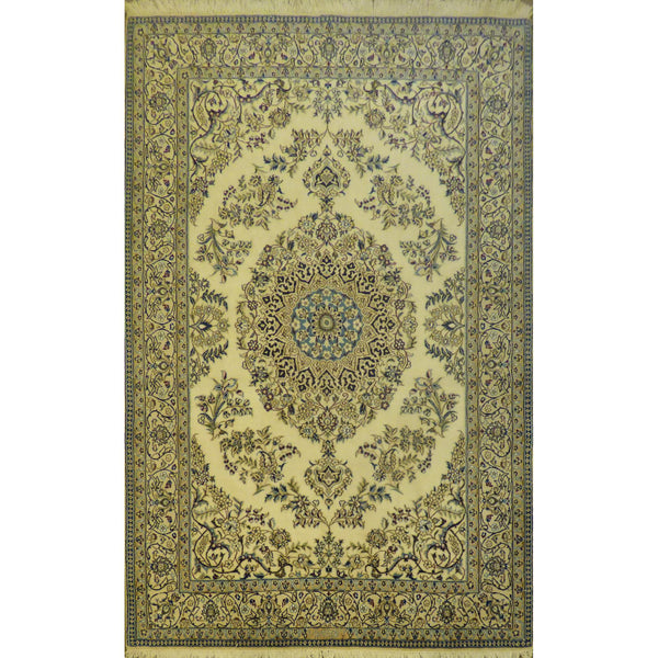 "Authentic Persian Rug nain Traditional Style Hand-Knotted Indoor Area Rug with Natural Wool and Cotton  5'0""  X  8'0"" ABCR02426"