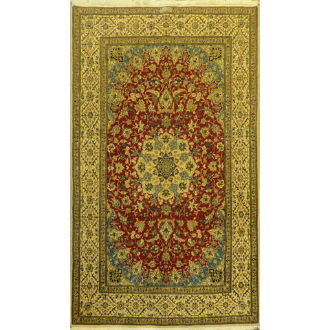 "Authentic Persian Rug nain Traditional Style Hand-Knotted Indoor Area Rug with Natural Wool and Cotton  6'5""  X  4'2"" ABCR02410"