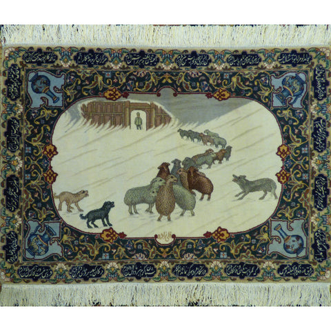 "Authentic Persian Rug isfahan Traditional Style Hand-Knotted Indoor Area Rug with Natural Wool and Cotton  3'6""  X  3'0"" ABCR03213"