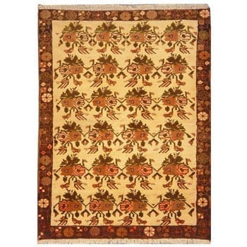 "Authentic Persian Rug saveh Traditional Style Hand-Knotted Indoor Area Rug with Natural Wool and Cotton  4'7""  X  3'3"" ABCR02817"