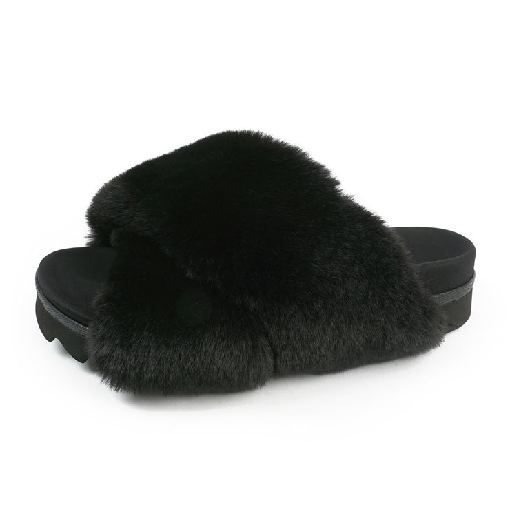 CLOUD BLACK SLIPPERS