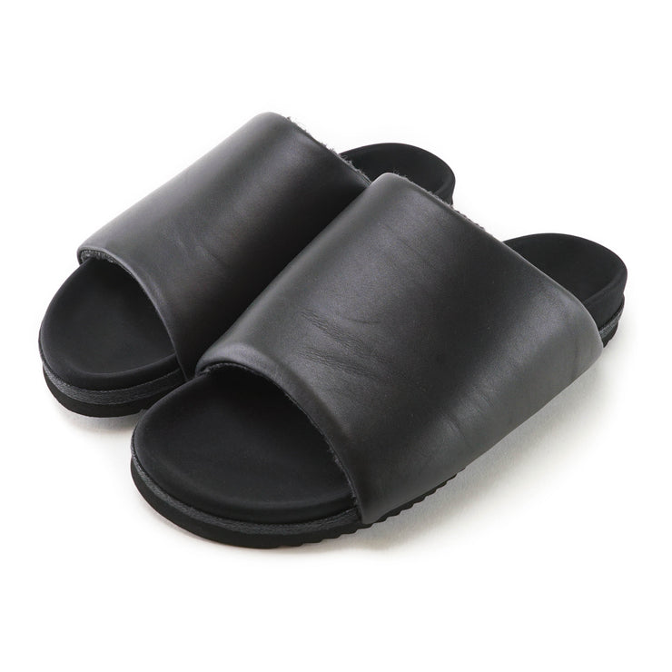 BLACK LEATHER SLIDERS