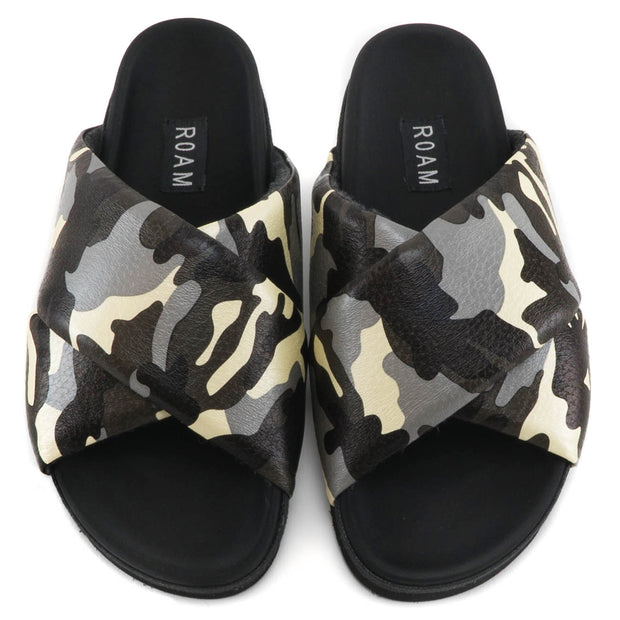 GREY CAMO CROSS SANDALS