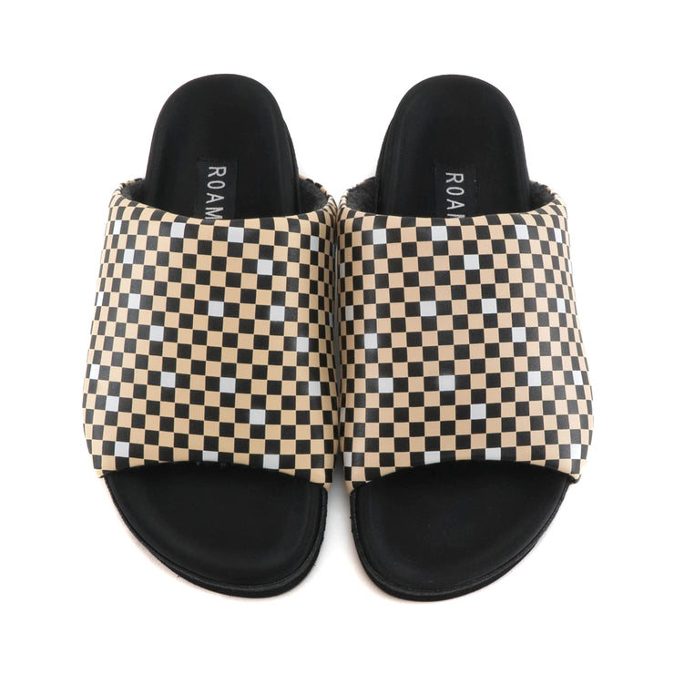 CHECKER SLIDER SANDALS