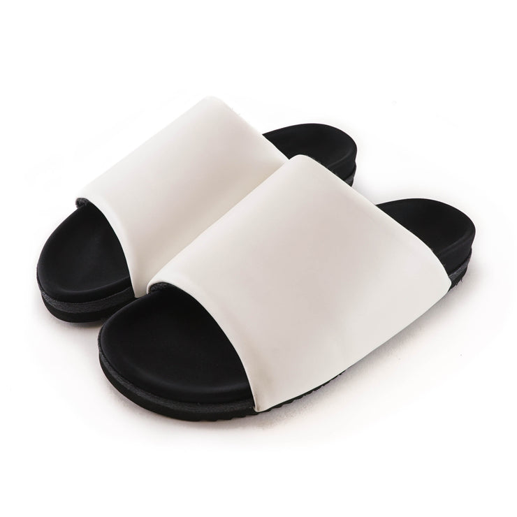 WHITE LEATHER SLIDER