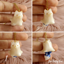 Load image into Gallery viewer, Fox Ghost Necklace in Polymer Clay - The Folky Fox