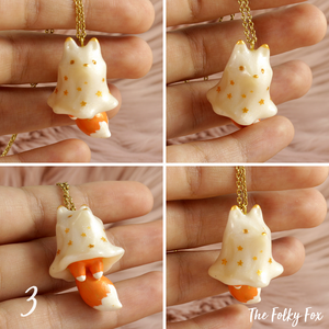 Fox Ghost Necklace in Polymer Clay - The Folky Fox