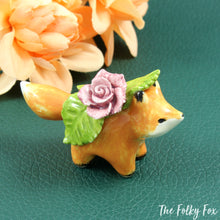 Load image into Gallery viewer, Fox with Rose Sculpture in Ceramic - The Folky Fox