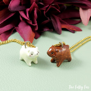 White Bear Necklace in Ceramic - The Folky Fox