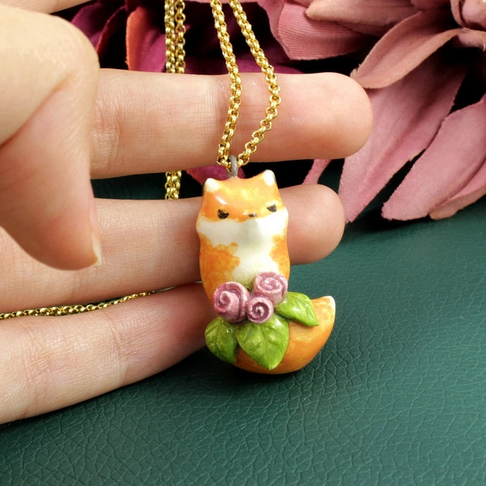 Fox Necklace with Roses in Ceramic - The Folky Fox