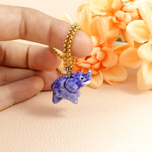 Load image into Gallery viewer, Blue Elephant Necklace in Ceramic - The Folky Fox