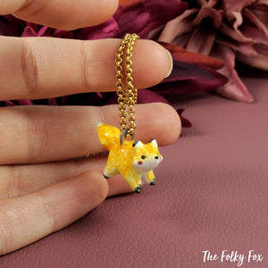 Amber Fox Necklace in Ceramic - The Folky Fox