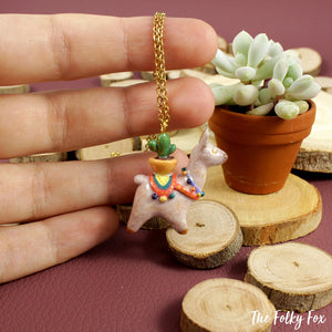 Cactus Llama Necklace in Polymer Clay - The Folky Fox