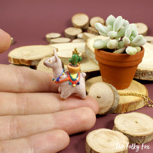 Load image into Gallery viewer, Cactus Llama Necklace in Polymer Clay - The Folky Fox