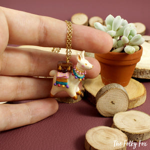 Suitcase Llama Necklace in Polymer Clay - The Folky Fox