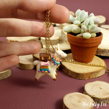 Load image into Gallery viewer, Suitcase Llama Necklace in Polymer Clay - The Folky Fox