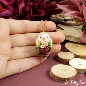 Floral Barn Owl Necklace in Polymer Clay - The Folky Fox