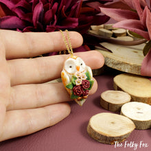Load image into Gallery viewer, Floral Barn Owl Necklace in Polymer Clay - The Folky Fox