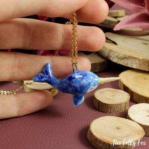 Narwhal Necklace in Ceramic - The Folky Fox