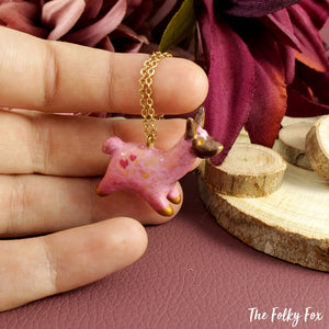 Pink Llama Necklace in Polymer Clay - The Folky Fox
