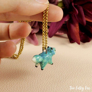 Mint Green Fox necklace in Ceramic - The Folky Fox