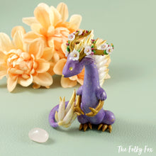 Load image into Gallery viewer, Sakura Dragon Holding a Rose Quartz in Polymer Clay - The Folky Fox