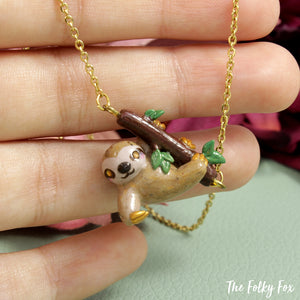 Sloth Necklace in Polymer Clay - The Folky Fox