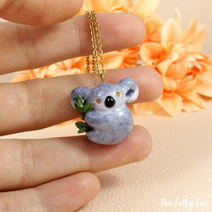 Koala Necklace in Polymer Clay - The Folky Fox