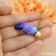 Load image into Gallery viewer, Blue Platypus Necklace in Polymer Clay - The Folky Fox