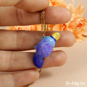 Blue Platypus Necklace in Polymer Clay - The Folky Fox