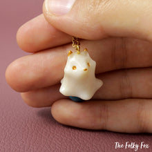 Load image into Gallery viewer, Blue Fox Ghost Necklace in Polymer Clay - The Folky Fox