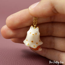 Load image into Gallery viewer, Orange Fox Ghost Necklace in Polymer Clay - The Folky Fox