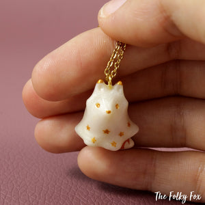 Orange Fox Ghost Necklace in Polymer Clay - The Folky Fox