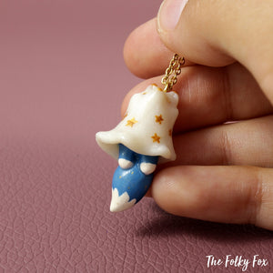 Blue Fox Ghost Necklace in Polymer Clay - The Folky Fox