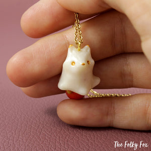 Red Fox Ghost Necklace in Polymer Clay - The Folky Fox