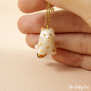 Ghost Red Panda Necklace in Polymer Clay - The Folky Fox