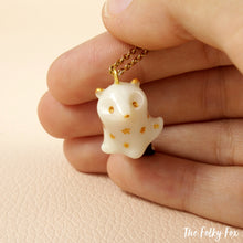Load image into Gallery viewer, Ghost Skunk Necklace in Polymer Clay - The Folky Fox