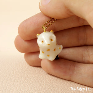 Ghost Skunk Necklace in Polymer Clay - The Folky Fox