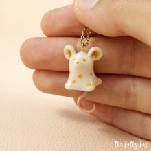 Load image into Gallery viewer, Ghost Mouse Necklace in Polymer Clay - The Folky Fox