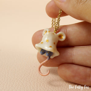 Ghost Mouse Necklace in Polymer Clay - The Folky Fox