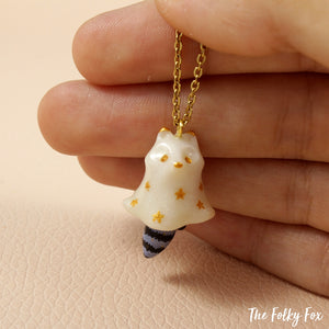 Ghost Raccoon Necklace in Polymer Clay - The Folky Fox