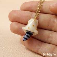 Load image into Gallery viewer, Ghost Raccoon Necklace in Polymer Clay - The Folky Fox