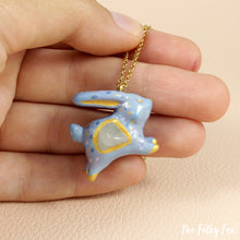 Load image into Gallery viewer, Quartz Bunny Necklace in Polymer Clay - The Folky Fox