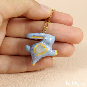 Quartz Bunny Necklace in Polymer Clay - The Folky Fox